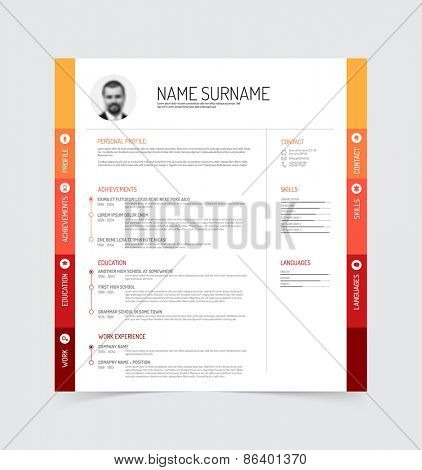 Vector minimalist cv / resume template - red / orange version with a profile photo