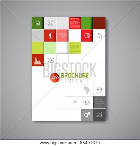 Modern Vector abstract brochure / book / flyer design template - red and green version