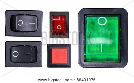 Switches isolated on white background