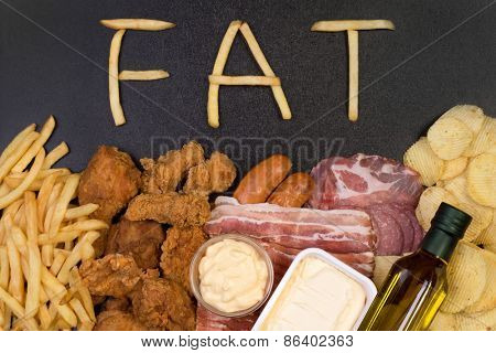 Food containing fat. Too much fat in diet causes obesity and other health problems