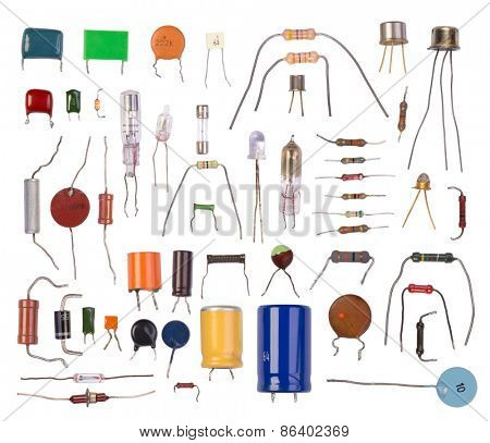 Electronic components isolated in white background