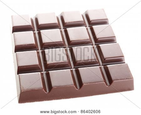 Black chocolate bar isolated on white