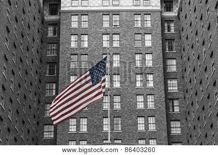 Building and U.S. Flag
