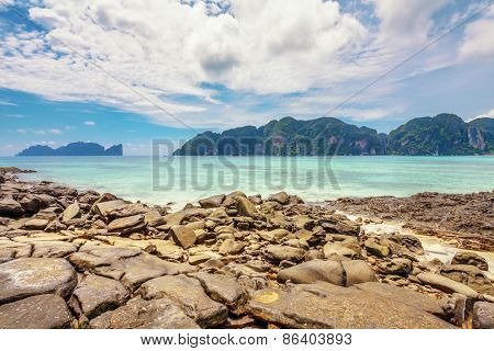 Beautiful tropical beach with  sea view, clean water & blue sky. Nature background