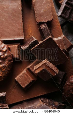 Set of chocolate, closeup