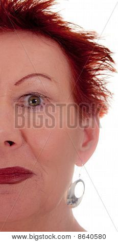 Older Woman Red Hair Half Face