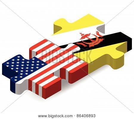 Usa And Brunei Darussalam Flags In Puzzle