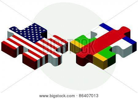 Usa And Central African Republic Flags In Puzzle