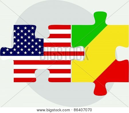 Usa And Republic Of The Congo Flags In Puzzle