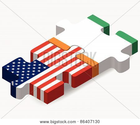 Usa And Cote D'ivoire Flags In Puzzle