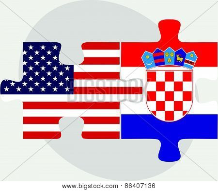 Usa And Croatia Flags In Puzzle