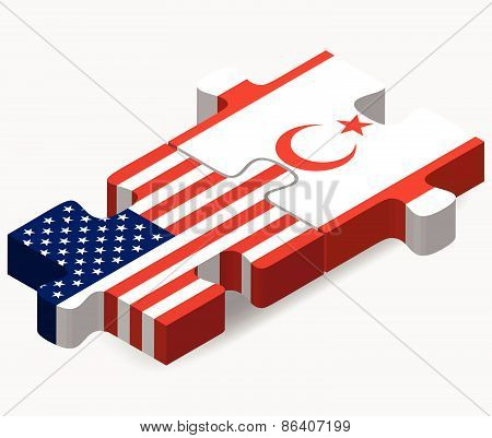 Usa And Turkish Republic Of North Cyprus  Flags In Puzzle