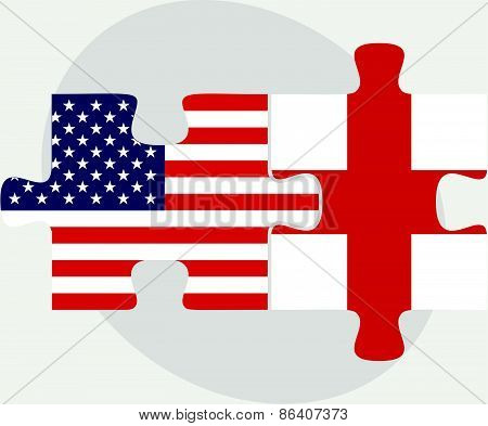 Usa And England Flags In Puzzle