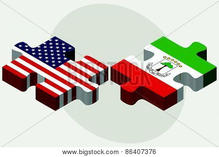 Usa And Equatorial Guinea Flags In Puzzle