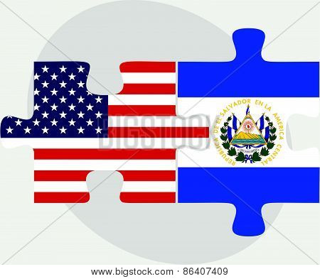 Usa And El Salvador Flags In Puzzle