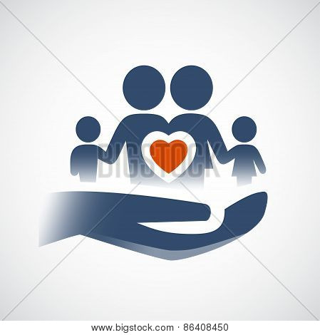 Hand Holding Family Symbol, Love Or Life Insurance Concept