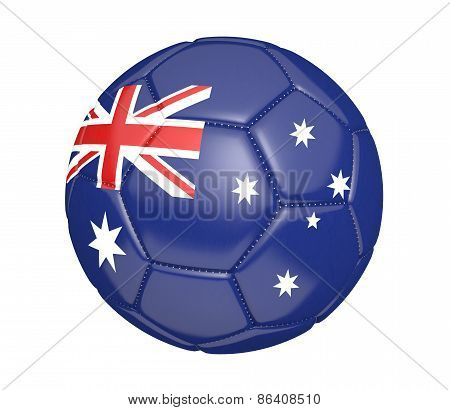 Soccer ball, or football, with the country flag of Australia