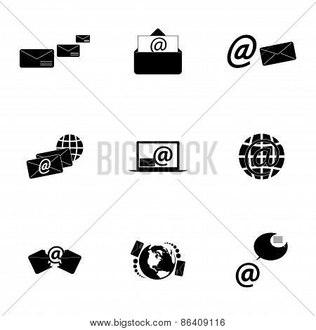 Vector black email icons set
