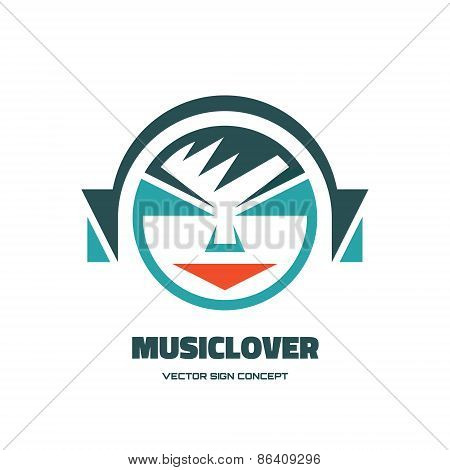 Music lover - vector logo concept illustration. Audio logo. Human character logo.