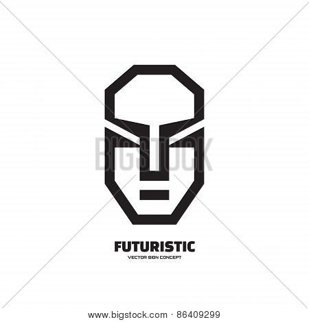 Abstract human face - vector logo concept illustration. Human character logo. Futuristic face logo.