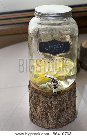 Water jug with lemons