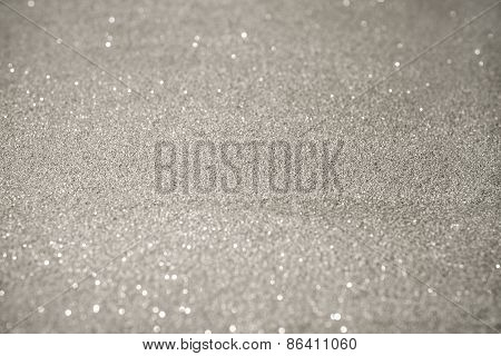 Silver Glitter Background With Bokeh