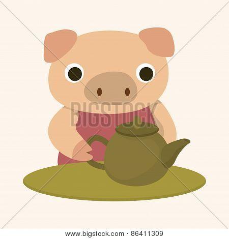 Animal Pig Having Afternoon Tea Theme Elements