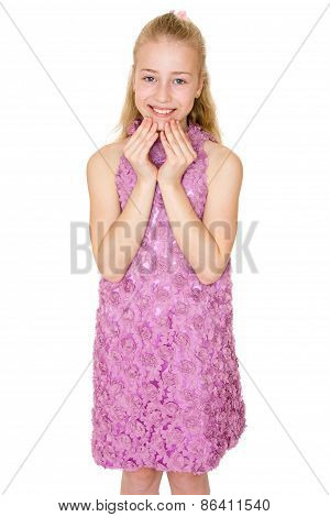 The girl dressed in purple dress