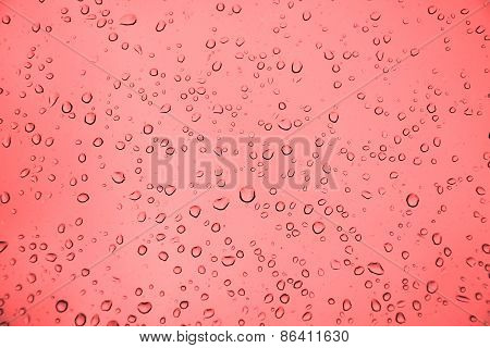 Water Drops On The Glass. Picture Can Be Used As A Background