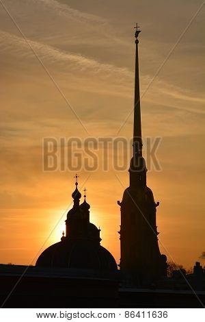 Peter And Paul Cathedral In Saint-petersburg At The Sunset