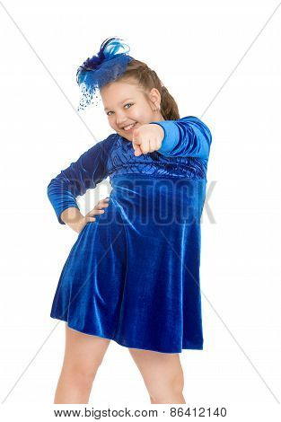 Cheerful girl in a blue dress