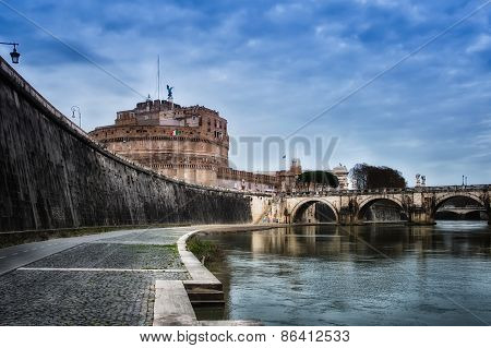 Bridge Of Castel St. Angelo From Tiber River. Rome - Italy