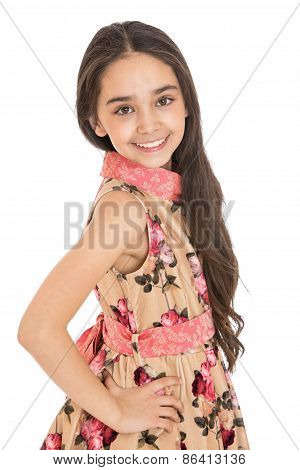 Fun long-haired girl in colorful dress