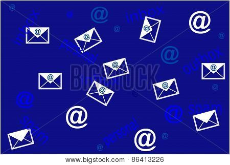 Concept of mailing list with envelope