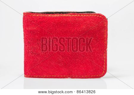 Handmade leather pocket bag on white background