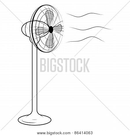 Vector illustration of air fan on white background