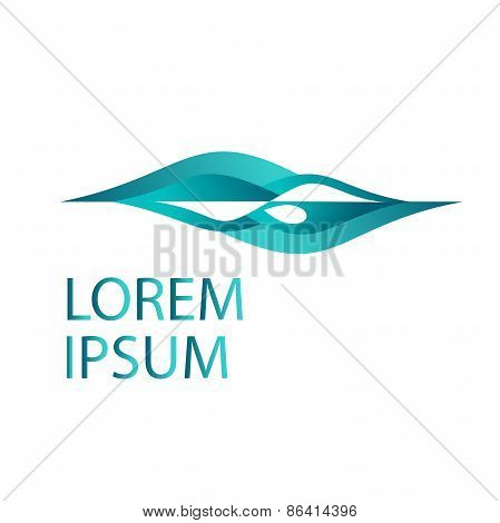 Vector logo design template. Abstract swimmer swimming through waves concept. Pool or beach logo or