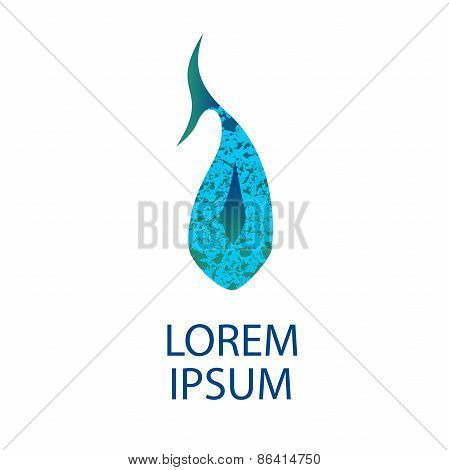 Dolphin texturized logo template. Whale vector design element. Seafood shop, restaurant and cafe log
