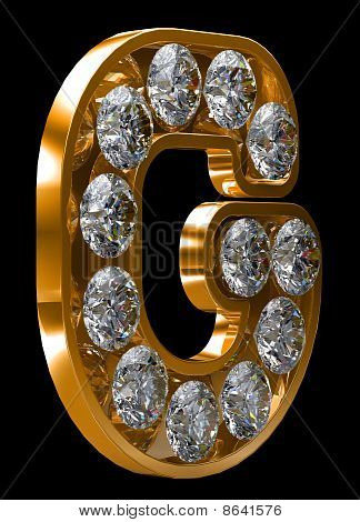 Golden G Letter Incrusted With Diamonds