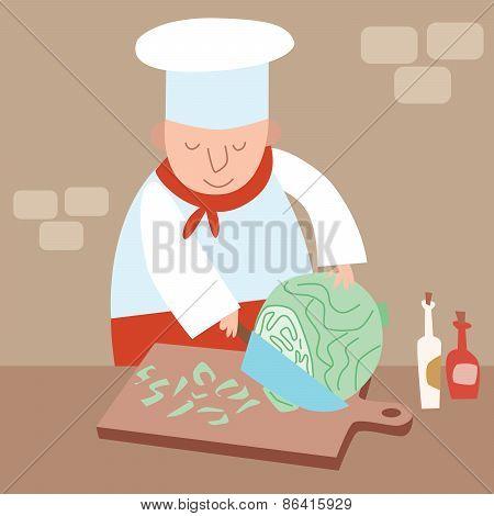 Cook Shreds Cabbage Restaurant Kitchen