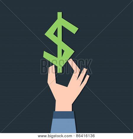 Dollar symbol in hand