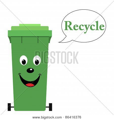 Garbage bin with recycle text