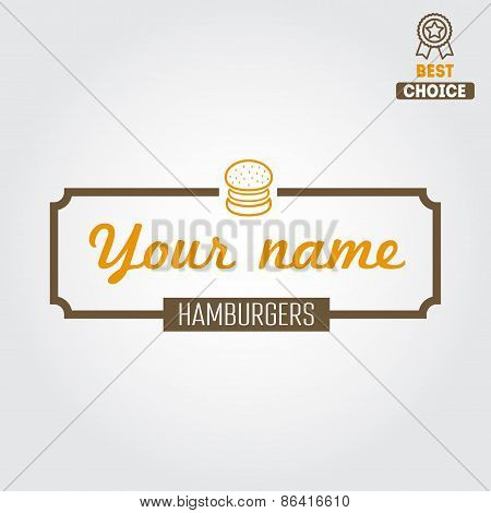 Logo, label, sticker for fast food restaurant, cafe, hamburger and burger