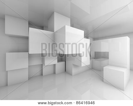Abstract Background With White Chaotic Cubes Interior