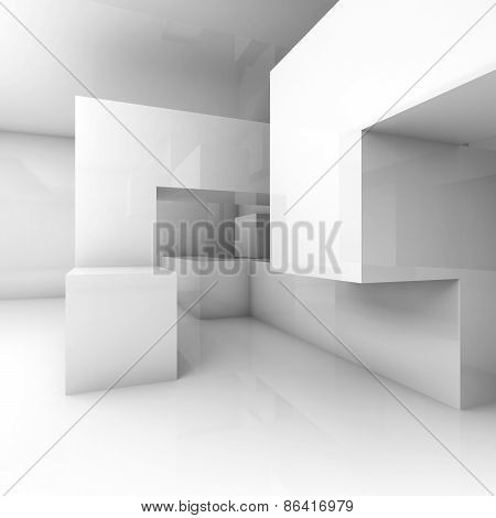 Chaotic Geometric Structure In Empty Room. 3D Render