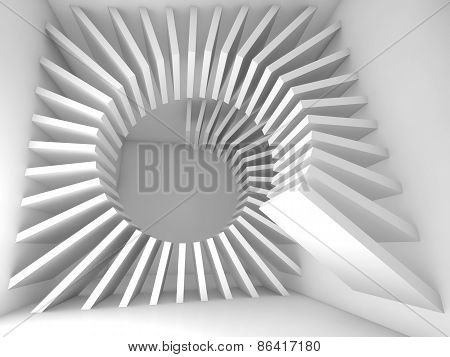 Abstract White Empty Room Interior With 3D Helix