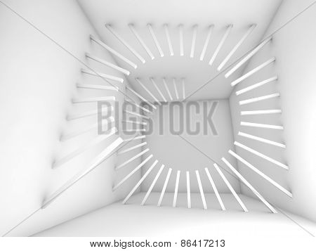 Abstract 3D White Empty Interior With Helix Decoration