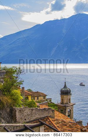 view of the church of Limone Sul Garda