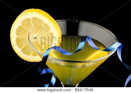 Lemon Martini With Blue Streamer