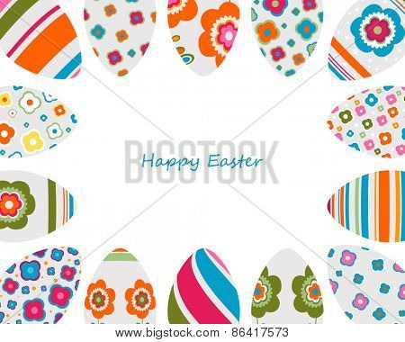 colorful decorated easter eggs frame